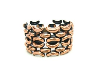 Wide Copper Bracelet. Chunky Links, Black Enamel. Geometric. Signed Renoir. Vintage 1950s Mid Century Jewelry. 1.5 inches Wide.