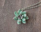 Blue Succulent Planter Necklace Pendant mini succulent plants arrangement Succulent Jewelry birthday wedding gifts