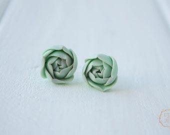 Blue Succulent Stud Earrings Wholesale Small Hypoallergenic Studs Weddings Bridal Women Accessory Christmas Xmas Santa Birthday Gifts