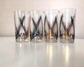 Mid Century Cocktail Glasses / Vintage Glasses / Mid Century Barware / Metallic Gold / Retro Barware / Mid Century Glass
