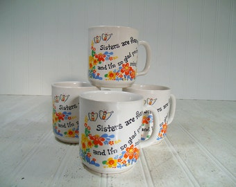 Ceramic Matching Mugs Groovy Boho Flowers Set of 4 - Sisters Coffee Cups Collection of 4 - Sisters Are Forever with Orange & Yellow Daisies