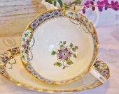Lovely Purple 1930s AYNSLEY Tea Cup and Saucer , Geometric and Floral, England