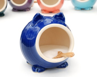 Cobalt Blue Ceramic Salt Pig for your countertop - traditional salt pig - great gift for a cook or foodie!