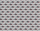 LAMINATED cotton fabric (aka oilcloth) by the yard - Blackbeard Sharks on Gray EXCLUSIVE (aka oilcloth, coated fabric, tablecloth fabric)