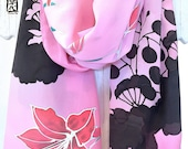 Pink Silk Scarf Handpainted, Etsy ASAP, Luxury Gift for her, Black and Pink Scarf, Red Lilies in Dusk Scarf, Japan Scarf, 14x72 inches