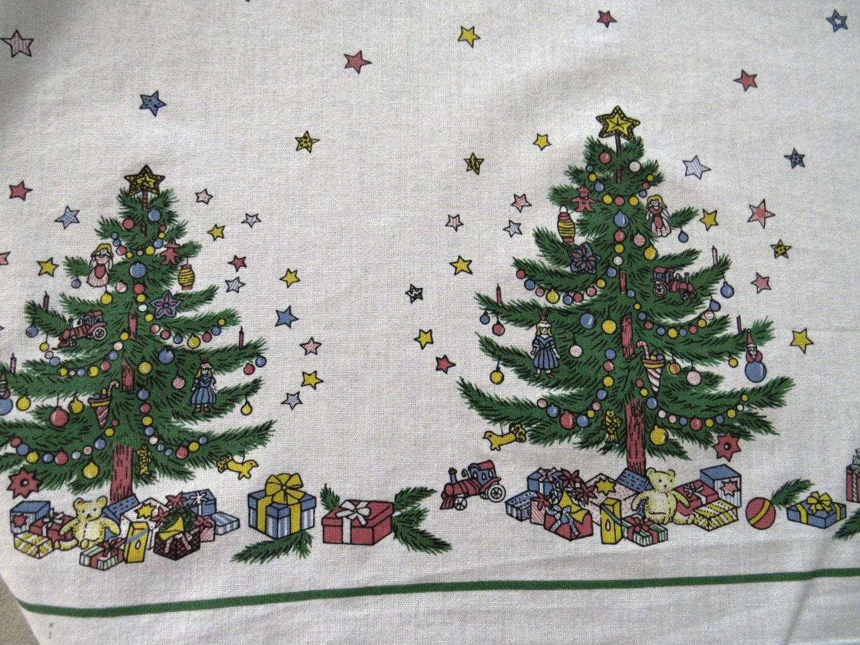 Vintage Large Christmas Tablecloth By Nikko Christmas Tree