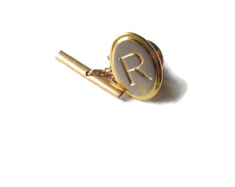 Initial R Tie Tack 1970s Fathers Day