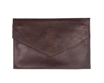 CLARA Leather Envelope Clutch. Brown Leather Wallet. Brown Leather Clutch. Dark Brown Leather Bag