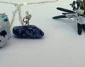 Sugar Skull and Snowflake Obsidian Necklace