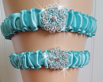 Aqua  Wedding Garter Set,  Elegant Bridal Garter Set,  Aqua Blue Garter, Toss Garter,  Something Blue,  Wedding Garter Belt
