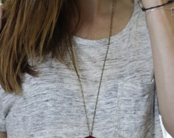 Red Telephone Wood Pendant Necklace // Antique Brass Long Chain // Vintage-Style // Gift for Her