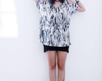 Oversized shirt, Open shoulders top, Loose shirt, Boho tshirt, Feathers printed shirt - SALE PRICE