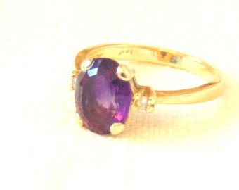 Vintage Amethyst Diamond 14K Yellow Gold Solitaire Ring