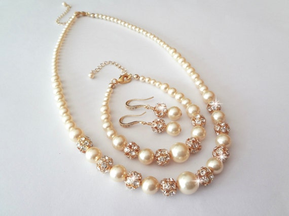 Gold pearl Set ~ Swarovski pearls and Crystals ~ Pearl jewelry set ~ 3 piece ~ Necklace,Bracelet and Earring set ~ Brides jewelry~ ISABELLA