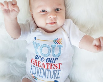 Take home outfit for boys, newborn coming home outfit, newborn gown, our greatest adventure, newborn photo prop, boys baby shower gift