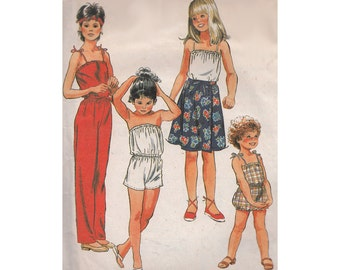 1980s Girls Jumpsuit or Romper with Front Wrap Skirt McCalls 7892 Strapless or Spaghetti Straps Tween Size 12 Breast 30