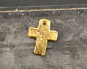 6 Tiny Gold Cross Charm - Hammered Texture