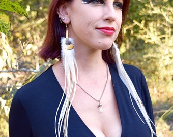 IVORY ELF Long Feather Earrings