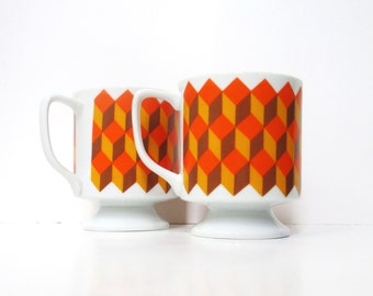 Retro Coffee Mugs, Vintage Footed Pedestal Cups, Set of 2 Geometric Mugs