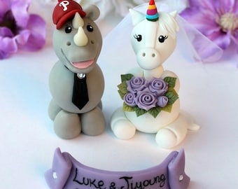 Robot and Unicorn wedding cake topper fantasy cake topper