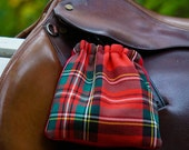 Ready to Ship - Red, Green, and Black Plaid Reversible Stirrup Covers