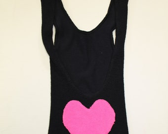 Black Bodycon Stretch dress with neon heart bum - backless bootylicious - baby got back - lycra dress - stretchy - lbd -Small