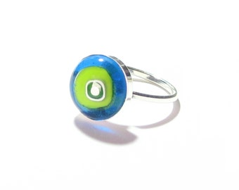Millefiori Glass Ring, Murano Glass Ring, Fused Glass Ring, Green Glass Round Ring, Sterling Silver Ring, Colorful Glass Ring, Glass Jewelry