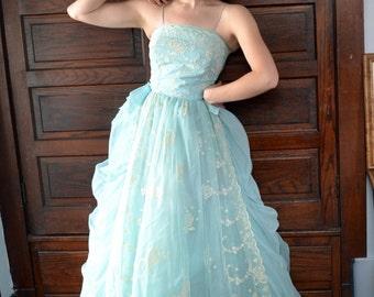 Sky Blue 50's Evening Gown / Velvet Floral Detail Ball Gown
