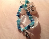 Star fish with sea glass chips earrings and stretch bracelet with sea glass chips with shell charm