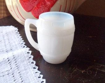 Milk Glass Whiskey Barrel Shot Glass, Whiskey Shot Glass