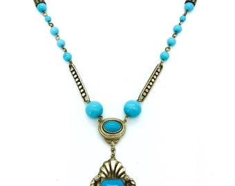 Vintage 1920's  Art Deco Turquoise Czech Glass Necklace