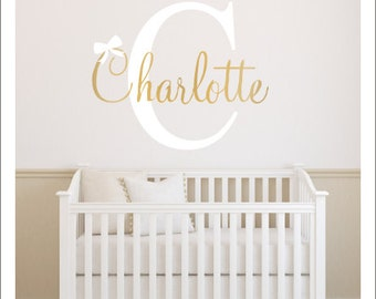 Girls Name Decal Name Initial and Bow Girls Wall Decal Personalized Girls Nursery Decal Baby Nursery Decal Gender Neutral Decal Bedroom Home