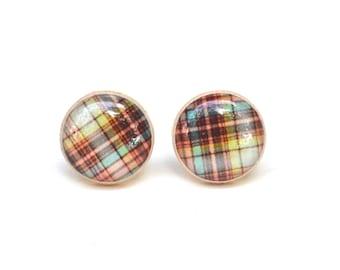 Fall Plaid Studs, plaid earrings, plaid stud earrings, twig, woodland, fall fashion, gift for her, mom gift