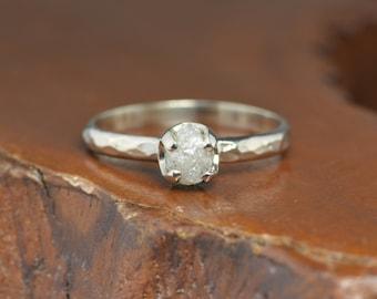 White Uncut Diamond Engagement Ring, 14k White Gold