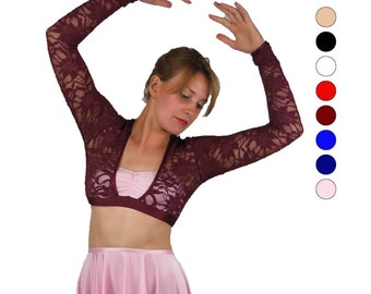 Lyrical costumes for competition - multiple colors - lyrical - long sleeve lace crop top
