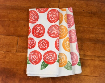 Rose Kitchen Towel, block print, flour sack towel (made to order)