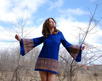 Vintage bell sleeve mini dress, blue cotton, boho 1960s 1970s M SALE