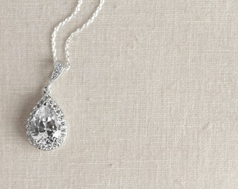 Teardrop Crystal Necklace - Bridesmaid Gifts - Cubic Zirconia Necklace - Bridal Jewelry