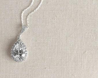 Teardrop Crystal Necklace - Bridesmaid Gifts - Cubic Zirconia Necklace - Bridal Jewelry - Teardrop Jewelry - Bridal Necklace, Wedding