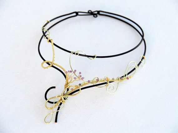 Gold nature Choker ~ Artisan necklace ~ Amethyst beads ~ Original design
