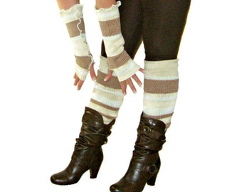 Arm Warmers & Leg Warmers Set, Upcycled Clothing, Winter Gift Set, Brown Arm Warmers, Brown Leg Warmers, Fingerless Gloves, Gift for Her