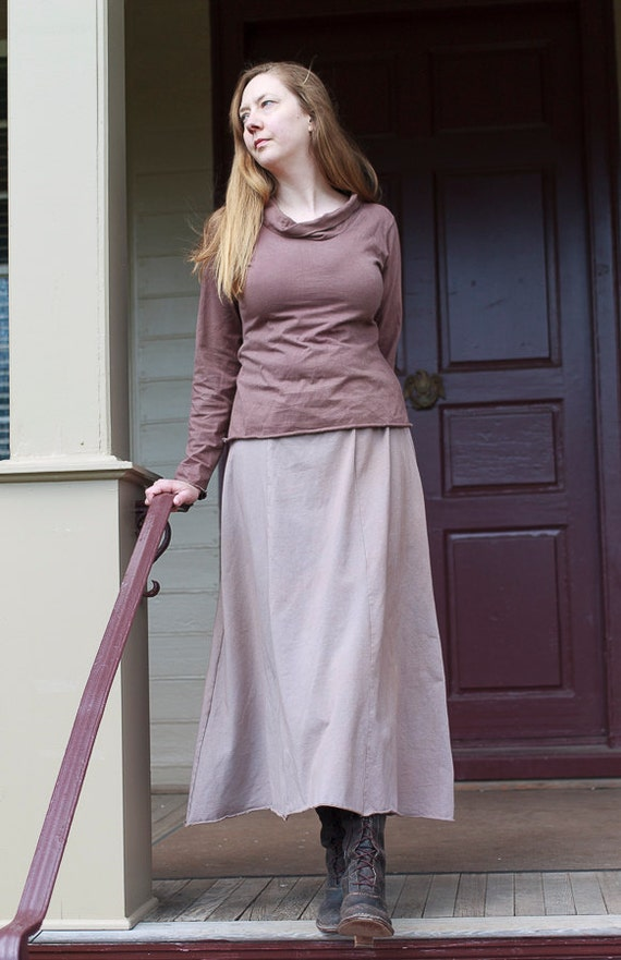Long Organic Cotton Annie Skirt, Maxi A-line Jersey Skirt, 6-panel Eco Friendly Skirt