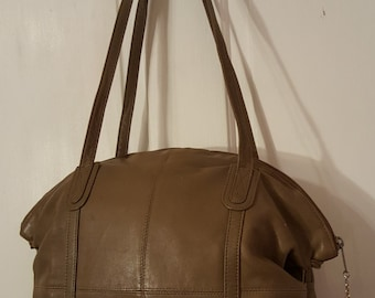 BRIO! BROWN LEATHER Purse // 70's Vintage Large Shoulder Bag Double Straps Retro 80's Adjustable Slouch