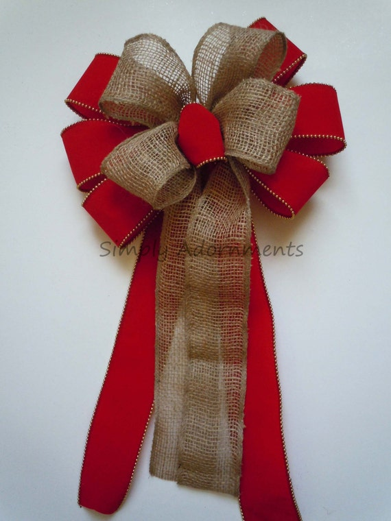 "12"" Burlap Red Velvet Christmas Bow Indoor/ Outdoor Large Holiday Bow Red and Gold Trim Christmas Wreath Bow Decor Lamp Post Door Hanger Bow"