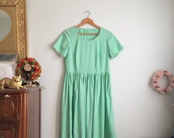 1950s Mint Green Dress / Vintage Mint Day Dress