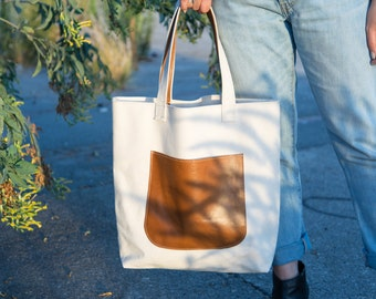 Union Tote- Heavy Canvas Tote Bag, Carry All, Canvas Tote, 24oz Cotton Canvas, Duck Canvas, Leather detail.