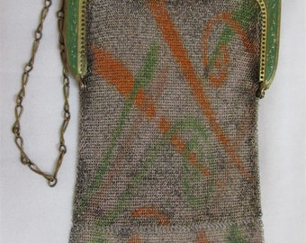 """1920's """"Whiting And Davis"""" Enameled Art Deco Green And Red Screen Print Dresden Mesh Flapper Purse"""