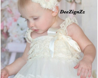 Vintage Girls Hair Accessories-Ivory-Shabby-Flower Headband-Wedding-Bridal-Flowers for Hair-Lace-Pearls-Flower Girl-Baby-Infant-Baptism-Chri