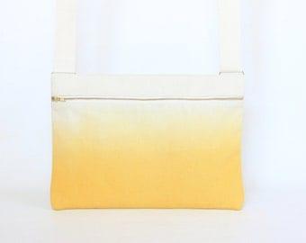 Cork Leather Yellow Ombre Bag / Yellow Dip Dye bag / Vegan Leather Bag / Messenger Bag