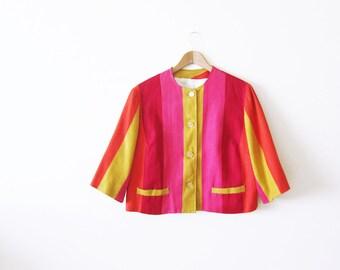 1960s Jacket / Striped Jacket / Vintage 60s Short Jacket / Pink Yellow Orange / Colorful Spring Cropped Jacket